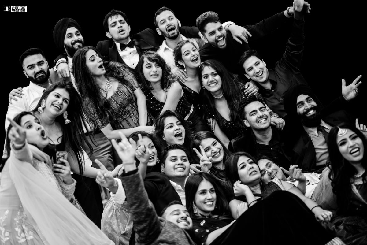 Black & White Picture of the Bride & Groom with Their Friends