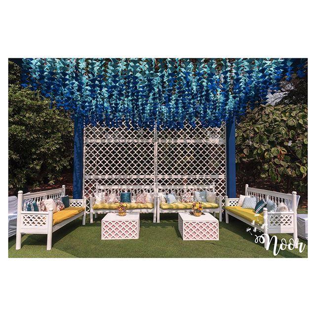 blue artifical flower hanging decoration idea