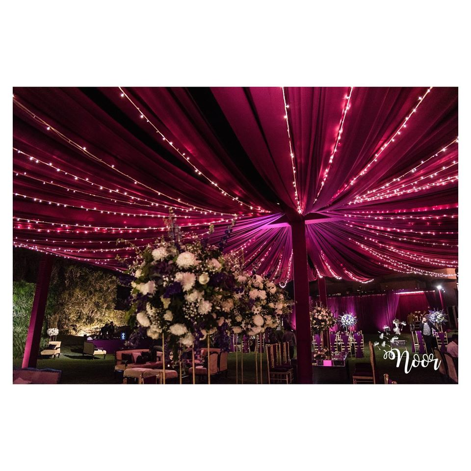 purple drape decorative light for hall
