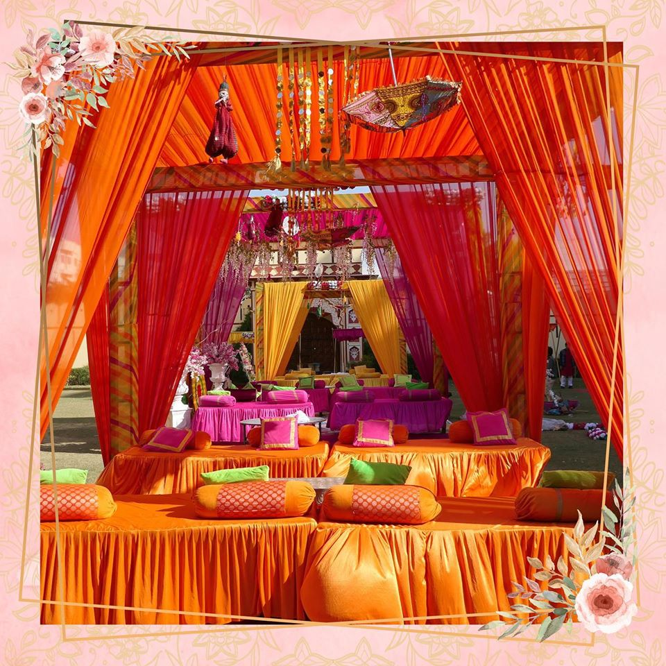 Colorful Traditional Seating Decor for Mehendi Ceremony