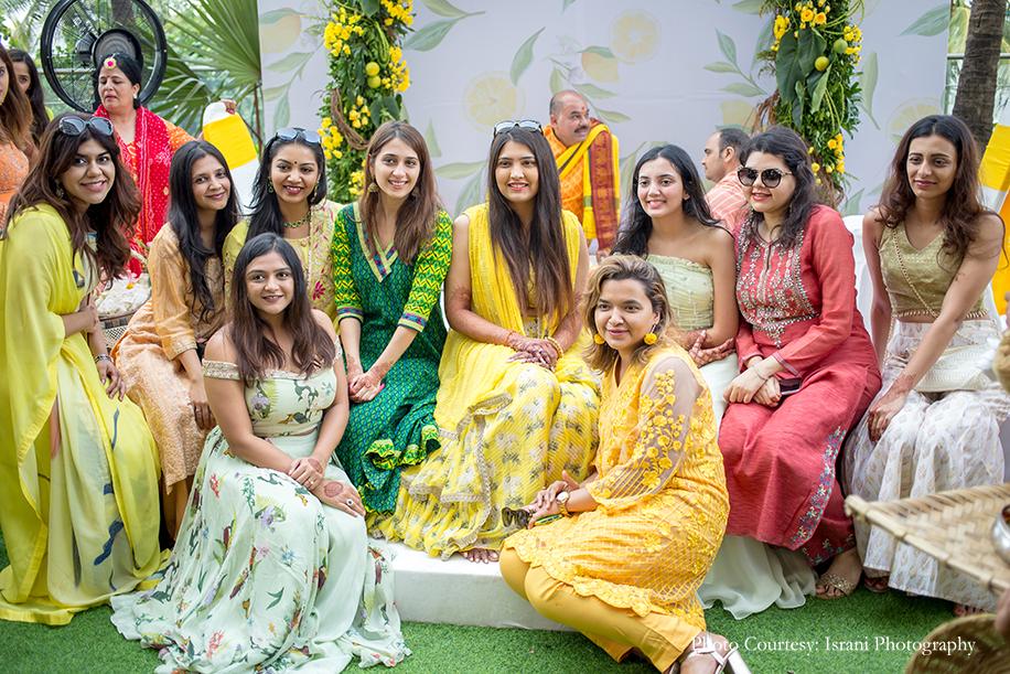 bride with her bridesmaids at haldi