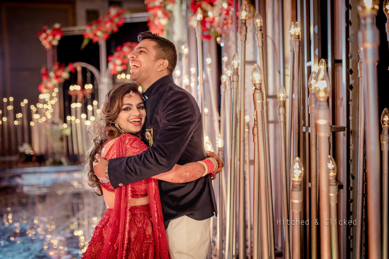 happy couple poses
